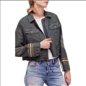 NWT free people extreme cropped embellished jacket